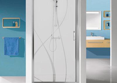 Mintás, ezüst keretes zuhanyajtó, 70 cm-től