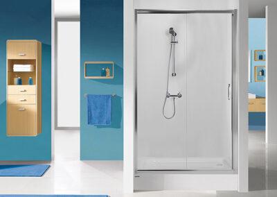 Ezüst keretes zuhany-, tolóajtó, 90-120 cm-ig