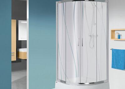 Negyedköríves, mintás üvegű zuhanykabin, 90x90