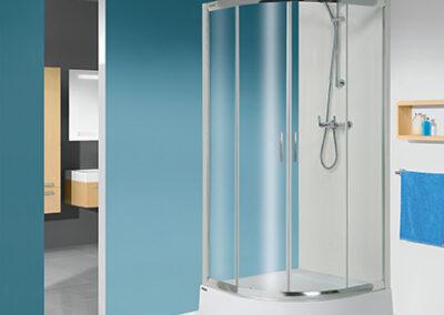 Negyedköríves, átlátszó üvegű zuhanykabin, 80x80