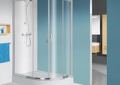 Negyedköríves, átlátszó üvegű zuhanykabin, 80x100