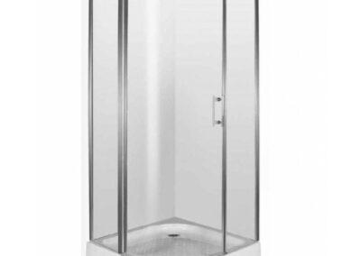 Negyedköríves, átlátszó üvegű zuhanykabin, 90x90
