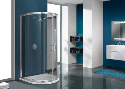 Félköríves, átlátszó üvegű zuhanykabin, 100x100