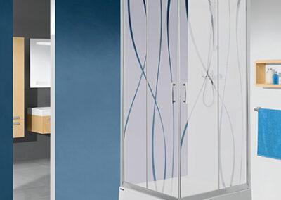 Négyszögletes, mintás üvegű zuhanykabin, 80x80
