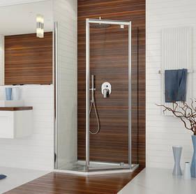 Ötszögletes, átlátszó üvegű zuhanykabin, 90x90
